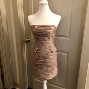 EUC Sexy Tan Ruched Button Dress - S